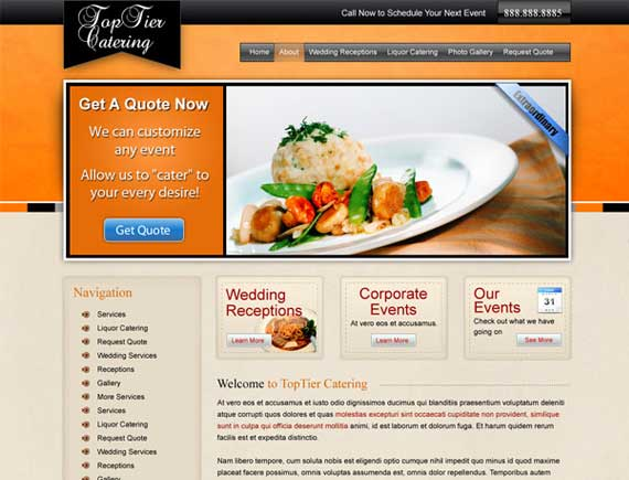 Free website templates for catering business