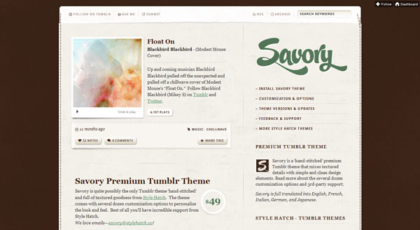 Savory tumblr theme