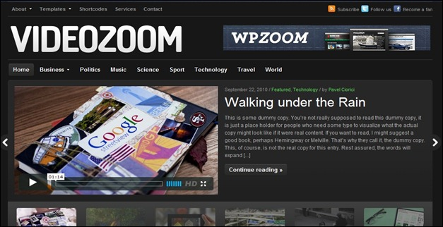 Video zoom WordPress theme