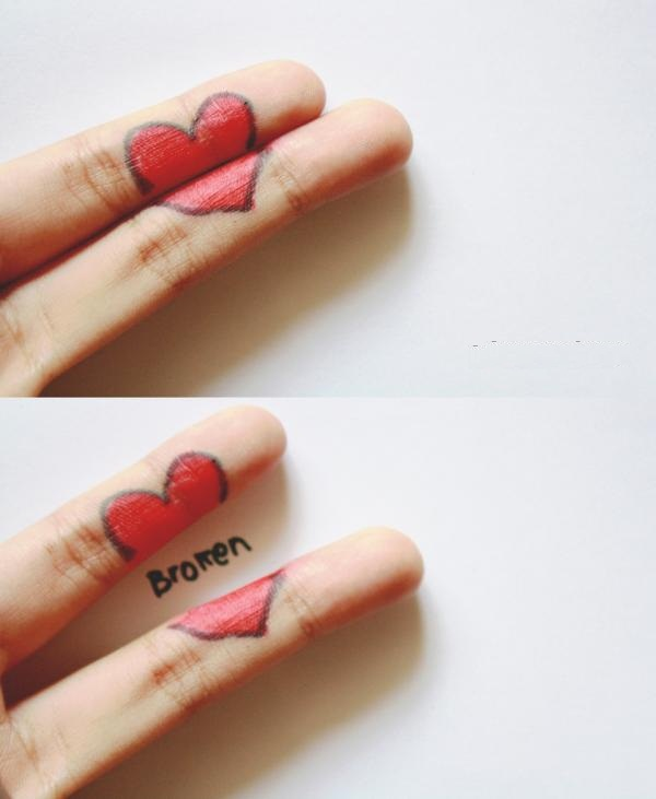 Broken Hearts On Fingers