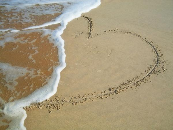 Broken Hearts On Beach