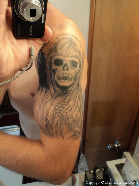 grim reaper tattoo flames