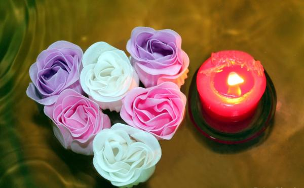Heart Of Roses With Candle