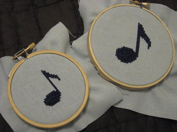 Music Notes Cross Stitch