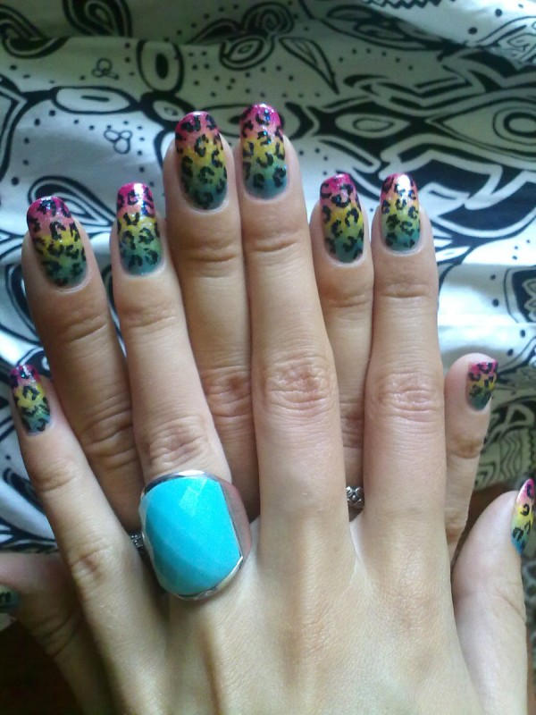my rainbow leopard nails