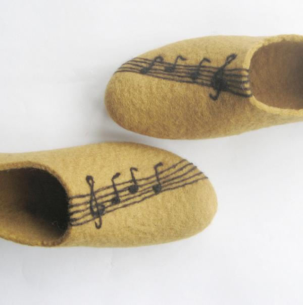 Felted Slippers With Felted Violin Love