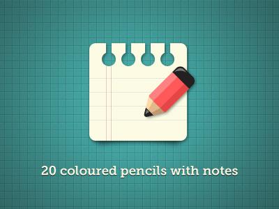 20 Coloured pencils with notes by Regina Casaleggio