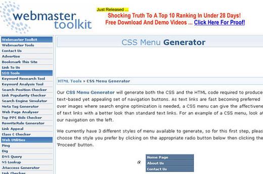 CSS Menu Generator
