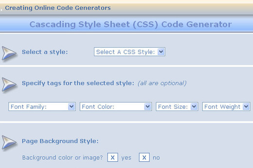 Cascading Style Sheet CSS Generator