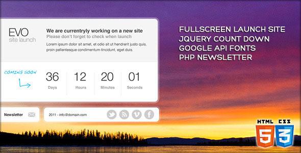 Fullscreen site launch template