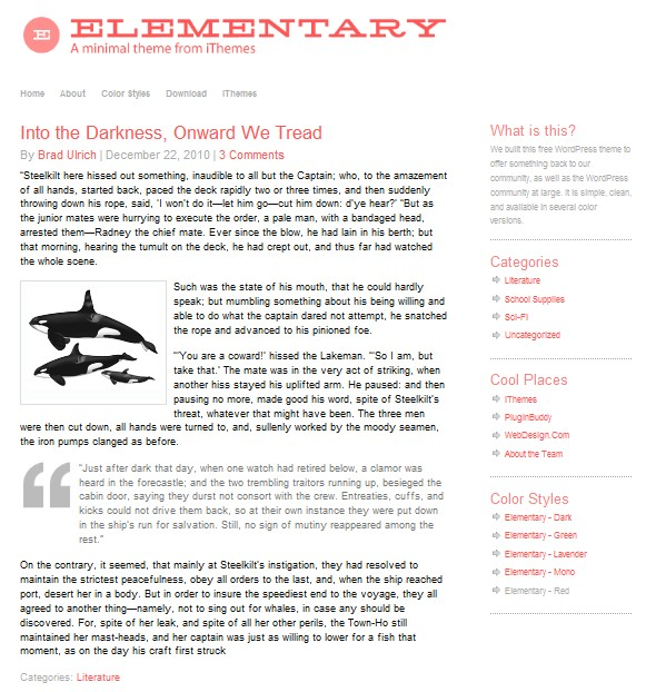 Free wordpress theme: Elementary