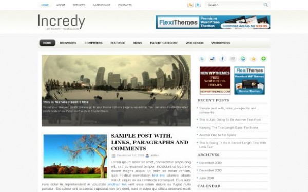 Free WordPress Theme Simple Chrome White Jquery