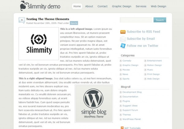 slimmity simple blog theme