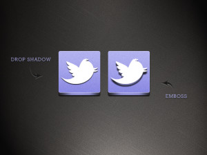 drop shadow and emboss effect of twitter logo