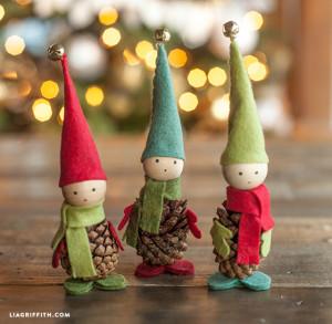 Pine Cone Felt Elves